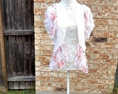 Altered Women's Crocheted Pink and White Shrug, Large, Shades of Pink Roses Ruffled Collar and Bottom, Shabby Chic Top, Romantic Tunic