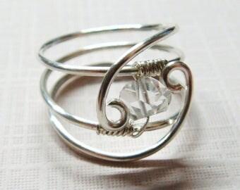 Herkimer Diamond Herkimer Diamond Ring Sterling Silver Ring Silver Herkimer Ring April Birthstone April Birthday