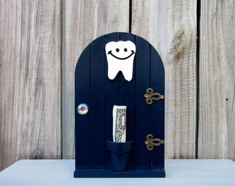 Tooth Fairy, Tooth Holder, Navy Blue, Fairy Door, Money Holder, Lost Tooth, Painted Wood, Childs Tooth