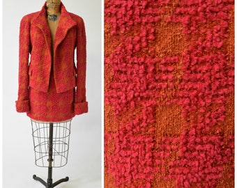 Chanel 2-Pc Orange & Pink Large Scale Houndstooth Print Boucle Suit Jacket and Mini Skirt Set // Tailored Chic Classic Designer Vintage