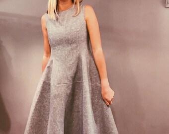 Handmade Gray A-Line Sleeveless Dress