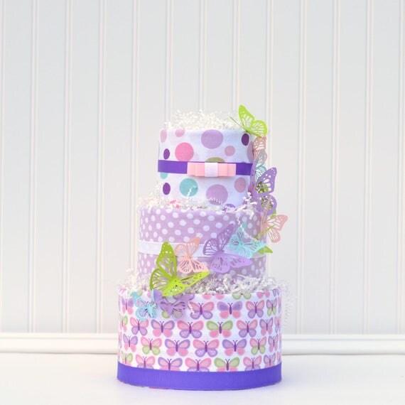 Girl Diaper Shower Gift, Girl Baby Cake, Girl Diaper Cake, Butterfly Baby Shower Gift, Purple Aqua Pink Shower, Diaper Raffle Gift