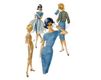 1960s Accessory Dress Pattern Kimono Sleeve Sheath Dress Overskirt Roll Collar Jacket McCalls 5781 Teen Bust 32 Vintage Sewing Pattern