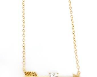 Arrow Necklace with Diamond Heart