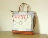 RESERVED - Vintage stripe sack Totebag handbag purse / 4 large pockets /Messenger bag/ Shoulder bag/ Tote bag/ - Ready