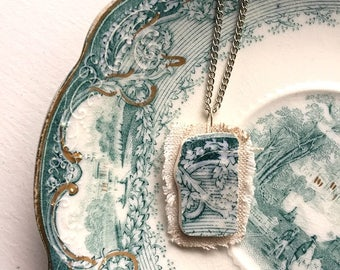 Broken china jewelry - china pendant necklace with chain - antique china shard on linen pendant - teal green ivy English transferware
