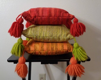 1960s MOD Set OF 3 One Orange One Green and One Red Striped Tassel Trimmed Bohemian Throw Pillows