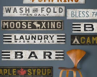 CUSTOM Personalized Laundry Bar Pumpkin Bless This Home Signs Ready-to-Hang Canvas 6x36x1 Any Color Any Text