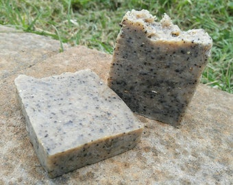 Natural Lye Soap with Coffee and Oatmeal Exfoliator No fragrance Rid Hands of Kitchen Smells or Garden Dirt