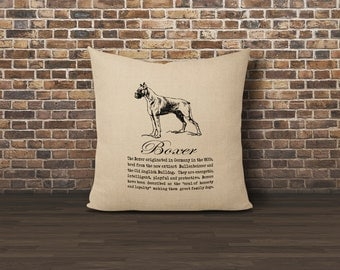 Boxer Dog Pillow Cover, Faux Burlap pillow cover, Pillow 16x16 cover, Burlap pillow cover, Dog Lover Pillow, Dog Pillow, Boxer Pillow Cover