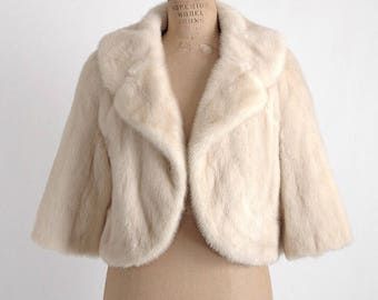 1950s 1960s blonde mink cropped jacket * vintage fur bolero * CT135