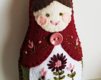 Handmade Felt Matryoshka Doll - Embroidered Burgundy Red Sage Green - Brown Hair - Green Eyes - Heirloom Style - Russian Baby Doll - OOAK