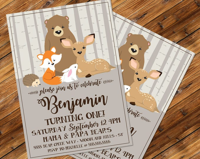 Woodland Birthday Invitation, Forest Friends, Bear, Deer, Fawn, Fox | Editable Text - Vertical DIY Instant Download PDF Printable