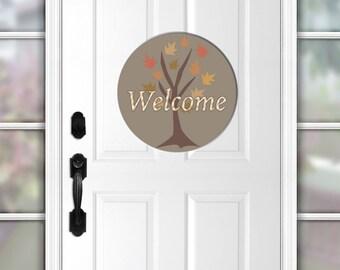 """Welcome door sign, wooden tree, 18"""" round sign, entryway decor, front door sign, Fall decor, autumn sign, wood door hanger, fall welcome"""
