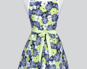 50s Style Retro Apron - Modern Lime Green and Black Floral Womans Vintage Inspired Cute Housewife Kitchen Apron with Pocket