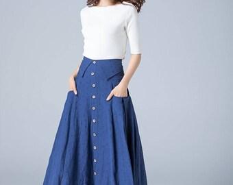 blue linen skirt, button skirt, high waisted skirt, pleated skrit, A line skirt, womens skirts, skirt with pockets, street fashion 1773