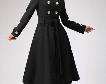 Trench coat, military coat, long coat, black coat, custom made, wool coat, belted coat, double breasted coat, plus size coat (709)