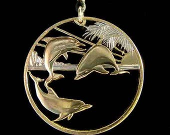 Cut Coin Jewelry - Pendant - Maui Hawaii - Dolphins
