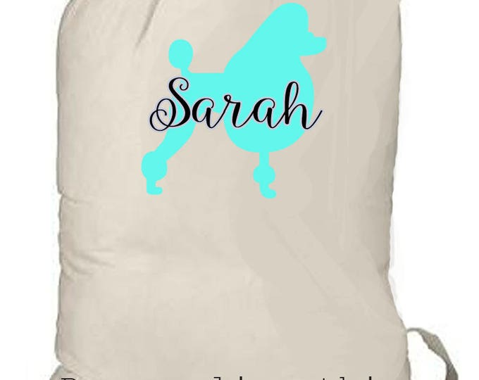 Girl's Camp Bag, Girl's personalized beach bag, girl backpack, laundry totebag, beach bag, lady's overnight bag, monogrammed dog lover gift
