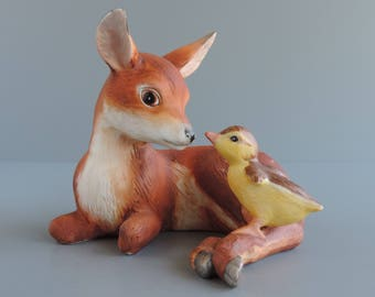 """Vintage """"Friends"""" Deer and Duckling Figurine by Eva Dalberg, World Wildlife Fund by Franklin Mint, 1980s Collectible Home Decor"""