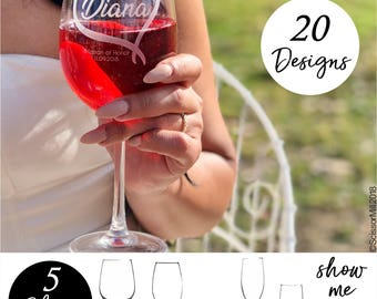 Maid of honor proposal gift, Bridesmaid glasses, Matron of Honor Gift, Wine Glasses Personalized by ScissorMill, Boho Wedding