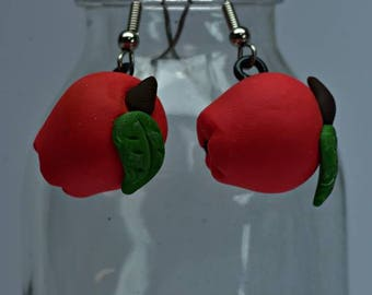 Apple Earrings, Polymer Clay Apple Earrings, Red Apple Earrings, Teachers Gift, Dietitians Gift, Handmade Earrings, Hand Sculpted Earrings