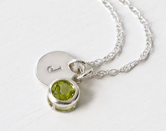 Personalized Birthstone Initial Necklace / August Birthstone Necklace / Genuine Peridot Necklace / Silver Initial Necklace Birthstone