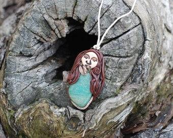 Forest Priestess Nature Pendant with Amazonite gemstone - Gaia - Mother - Goddess - Feminine