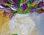 Original art, mothers day, Art Oil Painting palette Knife Oil  Painting, tulips purple tulips, canvas art, bathroom art
