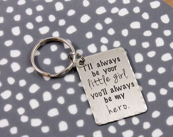 Father of the Bride, Father's Day keychain, little girl hero, daddy daughter gift, gifts under 25, daddy's little girl, tag you're it