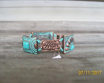 Antique copper Faith and Hope bracelet