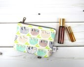Ity-Bity Zipper Pouch - Sloth - mini change pouch essential oil bag coin Zip Wallet Money Wallet Change Purse Gift Card Holder