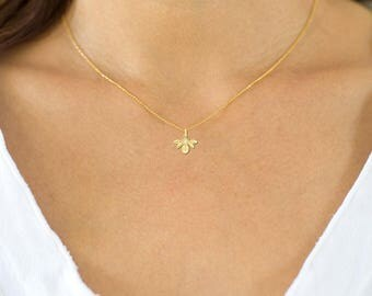 14K Diamond Bee Pendant or Necklace