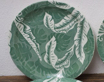 4 Wallace China Green Shadow Leaf Palm Banana Restaurant  Ware Plate 7 1/8 inch VINTAGE by Plantdreaming
