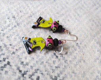 Witch Hat Earrings, Halloween Jewelry, Chartreuse Witches Hat Earrings, Enamel Earrings, Green Earrings, Spider Earrings, Artisan Enamel