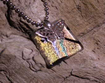 Dichroic Glass Circular Pendant in Gold, Orange, and Blue Colors