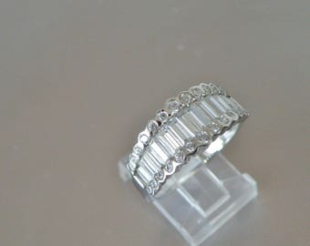 Sterling Silver 925 Baguette Diamonique DQ Diamond Like Cubic Zirconia Eternity Band Ring Anniversary Wedding Size 9