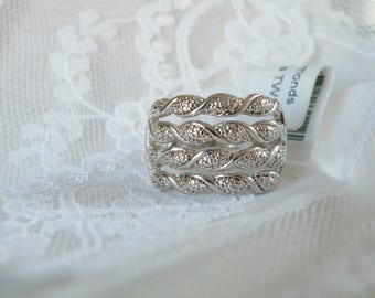 Jewelry Store Close Out New Old Stock Sterling Silver 925 1 Natural Diamond Leaf Branch Vine Feminine Minimalist Ring Size 7