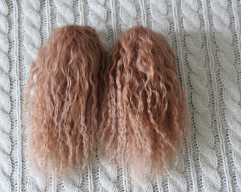 RESERVED listing for happylittlebluebird2 - Two Light Caramel mohair wigs for Planetdoll Mini Riz.