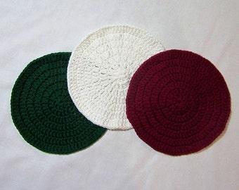 SALE - Holiday Cotton Crochet Washcloths - Set of 3