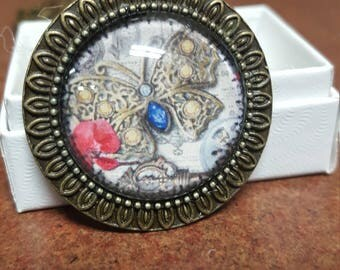 25mm round steampunk butterfly necklace