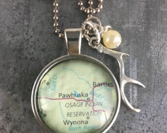 Map Pendant Necklace Pawhuska Oklahoma OK with antler charm