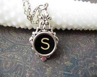 Typewriter Key Jewelry - Typewriter Necklace Letter S