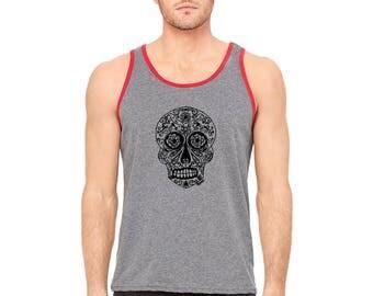Sugar Skull Tank Top, Unisex Tank Top, Day of the Dead Shirt, Men's Calavera Tank Top, Jersey Knit Tank Top, Hand Printed Sugar Skull Shirt