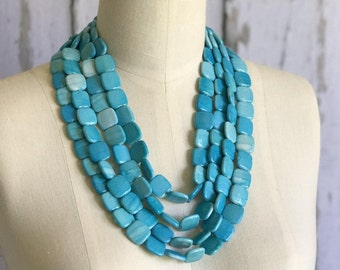 Aqua Blue Chunky Necklace, Multi Strand Necklace, Blue Chunky Necklace, Statement Necklace, ACRYLIC Necklace