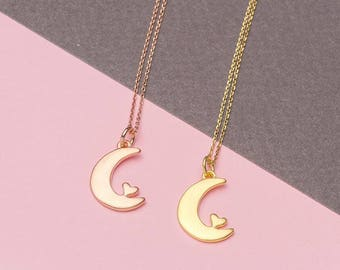 Crescent Moon Necklace I Love You to the Moon and Back Necklace Heart Necklace Moon Pendant Moon Jewelry summer present graduation gift
