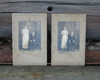 Vintage Black and White Photographs of Victorian Couples on Mat Board