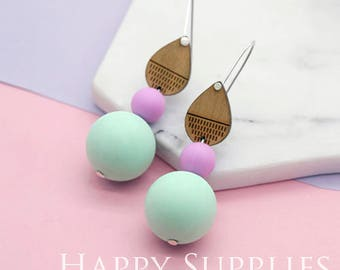 1 Pair (SBW01) Silicone Balls Laser Cut Geometric Wooden Dangle Earrings - HEW Series - Ocean Sea Summer Beach