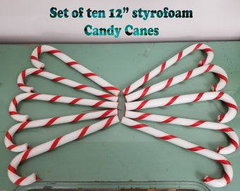 "10 Vintage White Styrofoam and Red Ribbon Candy Canes, 12-1/8"" Long. Large Christmas Decor."