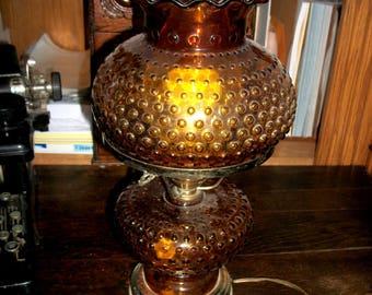 Vintage Amber Hobnail Electric Hurricane Lamp